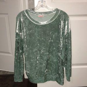 Mint green velvet long sleeve top size M